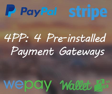 4 Pre-installed Payment Gateways by FundraisingScript.com